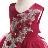 Red Embroidered Silk Dress - Ribbon and Blues