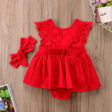 Red Ruffle and Lace Dress - Ribbon and Blues