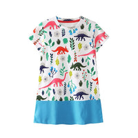Fun Dino Summer Dress for Girls - Ribbon and Blues