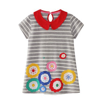 Playful Flower Dress for Girls - Ribbon and Blues