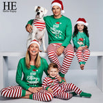Green Top and Striped Family Christmas Pajamas