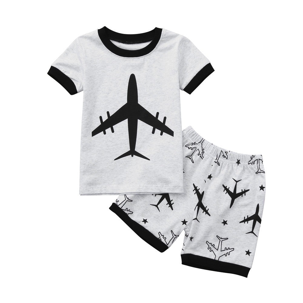 Black and White T-Shirt and Shorts Set (different designs available)