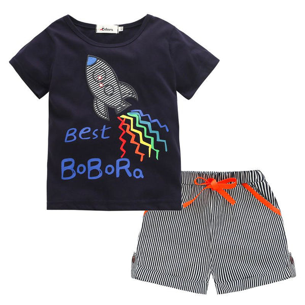 Rocket T-Shirt and Matching Shorts - Ribbon and Blues