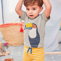 Toucan Gray Shirt and  Yellow and White stripped shorts - Ribbon and Blues