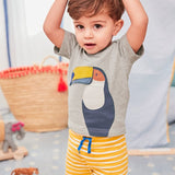 Toucan Gray Shirt and  Yellow and White stripped shorts