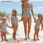 Ruffle Leopard Mom and Daughter Swimwear - Ribbon and Blues