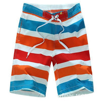 Red Orange and Blue Stripe Fun Swim Wear - Ribbon and Blues