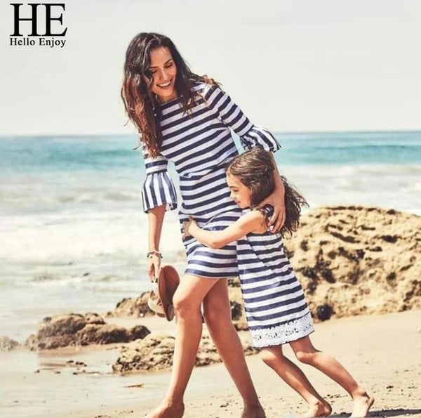 Beach Stripe Lace Mommy and Me Dresses