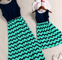 Mother and Daughter Matching Summer Dress - Ribbon and Blues