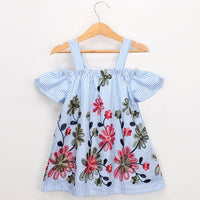 Cotton Embroidered Dress - Ribbon and Blues