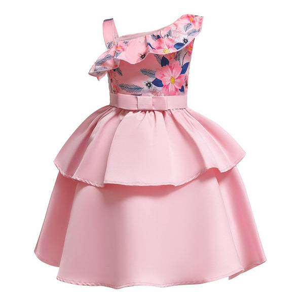 Floral Pink One Shoulder Princess Dress - Ribbon and Blues