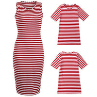 Summer Mommy And Me Striped Short Sleeve Dresses - Ribbon and Blues