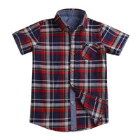 Red Plaid Turn Down Collar Shirt for Boys - Ribbon and Blues