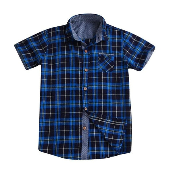 Blue and Black Plaid Button Down Shirt for Boys - Ribbon and Blues