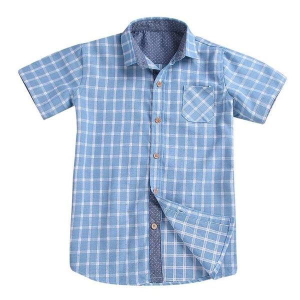 Blue Plaid Shirt for Boys - Ribbon and Blues