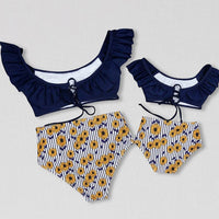 Mother Daughter Swimwear Two Piece - Ribbon and Blues