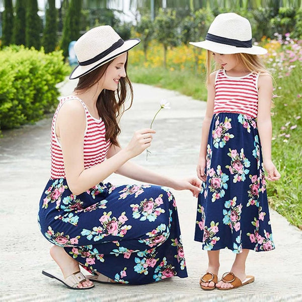 Mother Daughter Striped Sleeveless Flower Beach Dresses