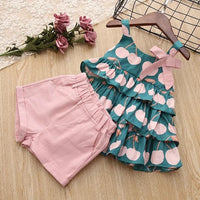 Sleeveless T-shirt of Sweet Pink Cherries with Matching Shorts