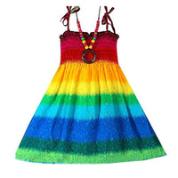 Stripped Bohemian Rainbow Dress with Vintage Necklace - Ribbon and Blues