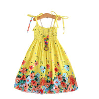Yellow Bohemian Flower Dress with Vintage Necklace - Ribbon and Blues