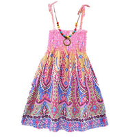 Pink Bohemian Dress with Vintage Necklace - Ribbon and Blues