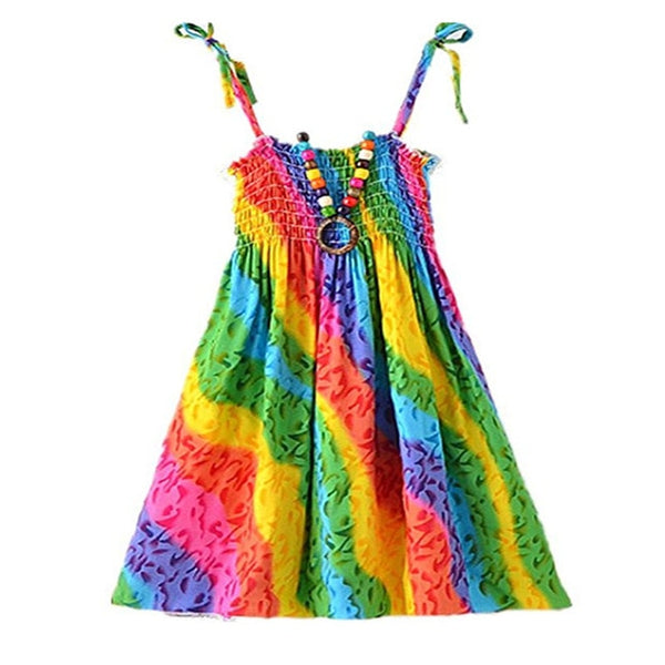 Bohemian Rainbow Dress with Vintage Necklace - Ribbon and Blues