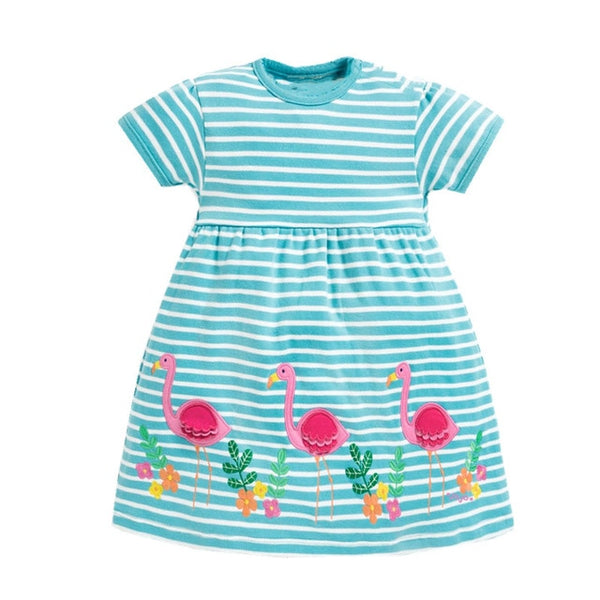 Blue and White Striped Cute Cotton Summer Dress