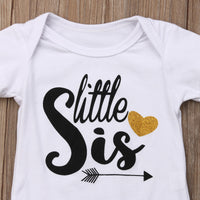 Big Sister T-shirt or Little Sister Romper - Ribbon and Blues