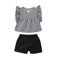 Sleeveless Striped Tops and Shorts Outfits