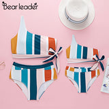 Mother and Daughter Striped Swimwear