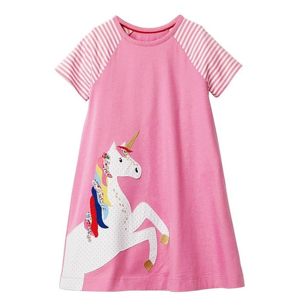 Pink and White Striped Sleeves with Unicorn Cotton Summer Dress