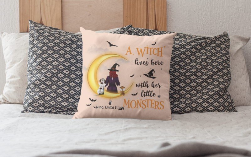 A Witch With Dogs Pillow