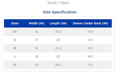 gearlit youth t-shirt size chart