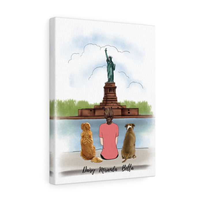 Custom Statue of Liberty Woman & Dogs Premium Canvas