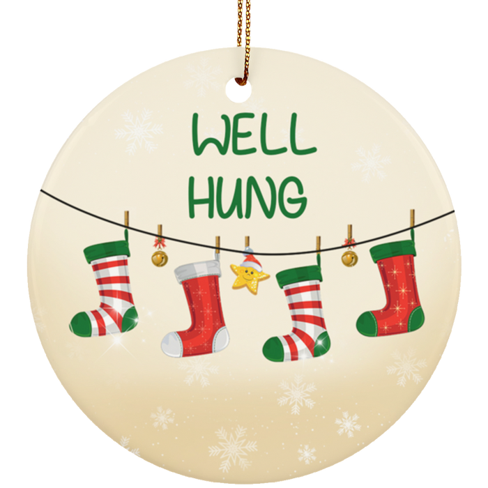 Well Hung Funny Christmas Tree Ornament