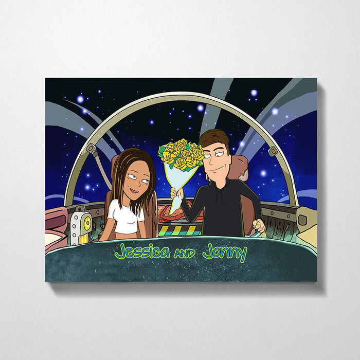 Custom Cartoon Canvas Portrait Landscape - Personalized Anniversary Family Gifts