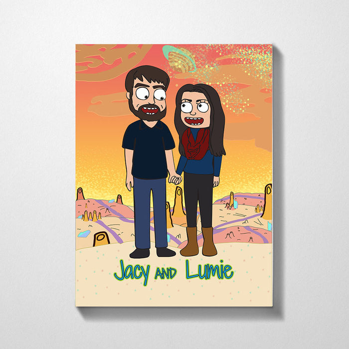 Custom Cartoon Canvas Portrait, Personalized Anniversary Family Gifts