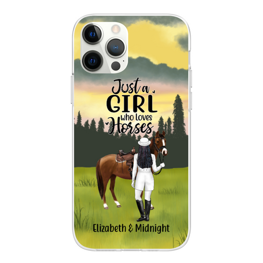 Personalized Phone Case, Woman Standing Horse Gifts For Horse Lovers