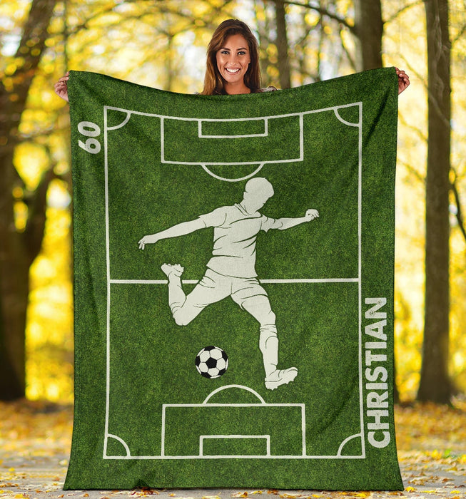 Personalized Soccer Player Premium Blanket