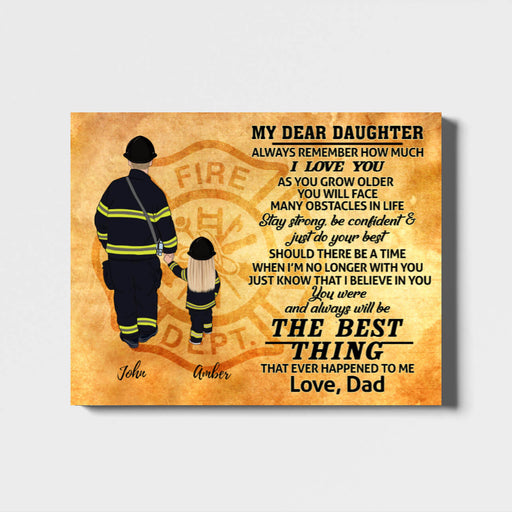 Custom Father And Daughter Landscape Canvas Personalized Gift For Firefighter