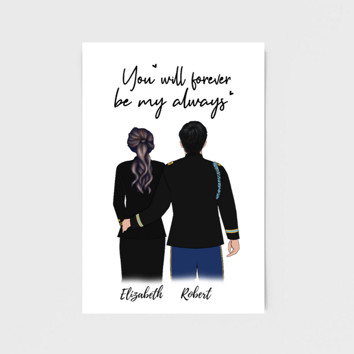 Custom Military Couple Portrait Poster