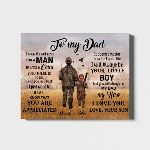 Custom To My Dad Hunting Personalized Landscape Canvas Gift For Father Hunting Lover