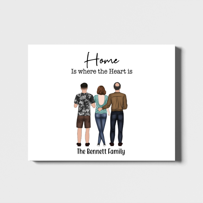Personalized Landscape Canvas - Three members Family Custom Gift for Family Lovers