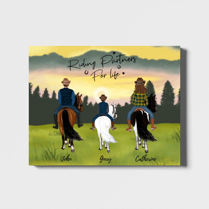 Personalized Landscape Canvas - Man Woman And Kid Family Gift for Horse Lovers