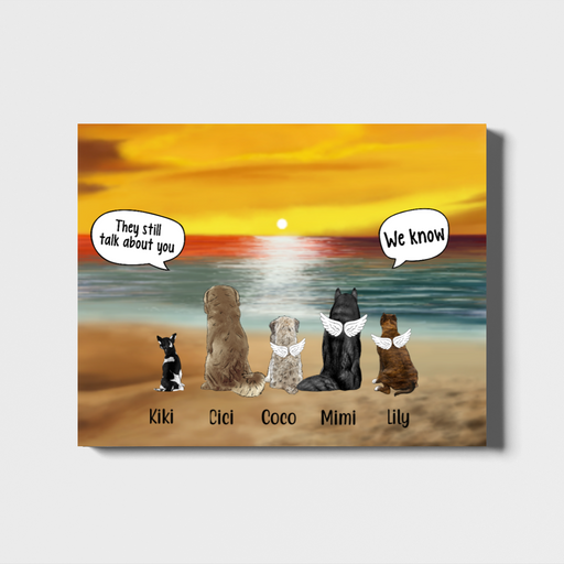 Personalized Landscape Canvas - Memorial Dogs in Conversation Gift For Dogs Lovers