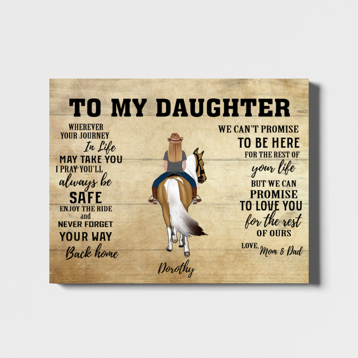 Custom Riding Horse Daughter Landscape Canvas Personalized Gift from Mother & Father to Daughter