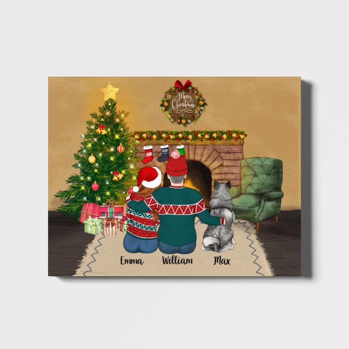 Personalized Landscape Canvas - Christmas Couple Custom Gift For Dogs Lover