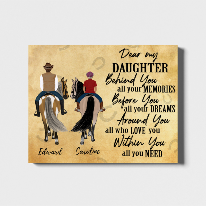 Custom Horse Riding Parent & Daughter Landscape Canvas Personalized Gift for Daughter