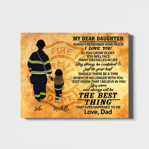 Custom Father Daughter Landscape Canvas Personalized Gift For Firefighter