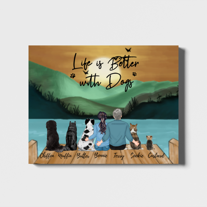 Personalized Landscape Canvas, Couple and Dogs Custom Gift for Dog Lovers